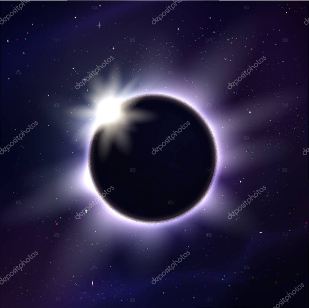 Vector illustration of eclipse and light rays