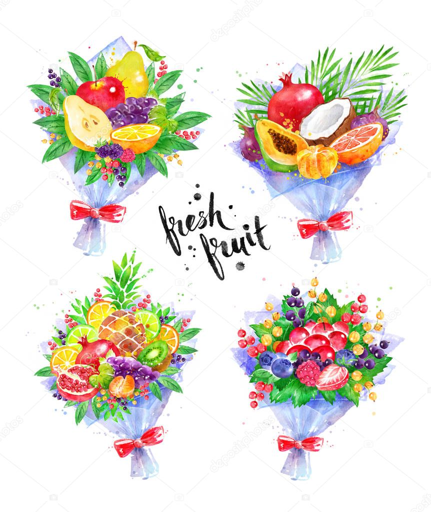 Illustration set of fresh fruit Bouquets