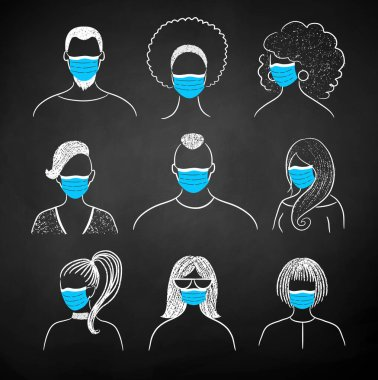 Vector chalk illustration set of new normal user icons people wearing face masks on black chalkboard background. icon