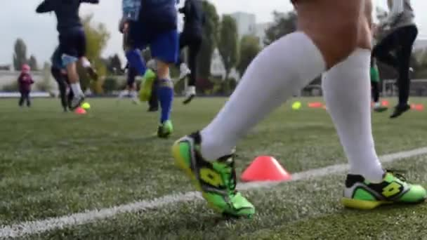 Womens soccer team practicing, female sports. Kiev, Ukraine - October, 2016