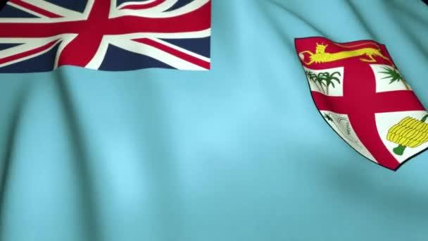 Waving realistic Fidži Island flag in 4K, loop animation