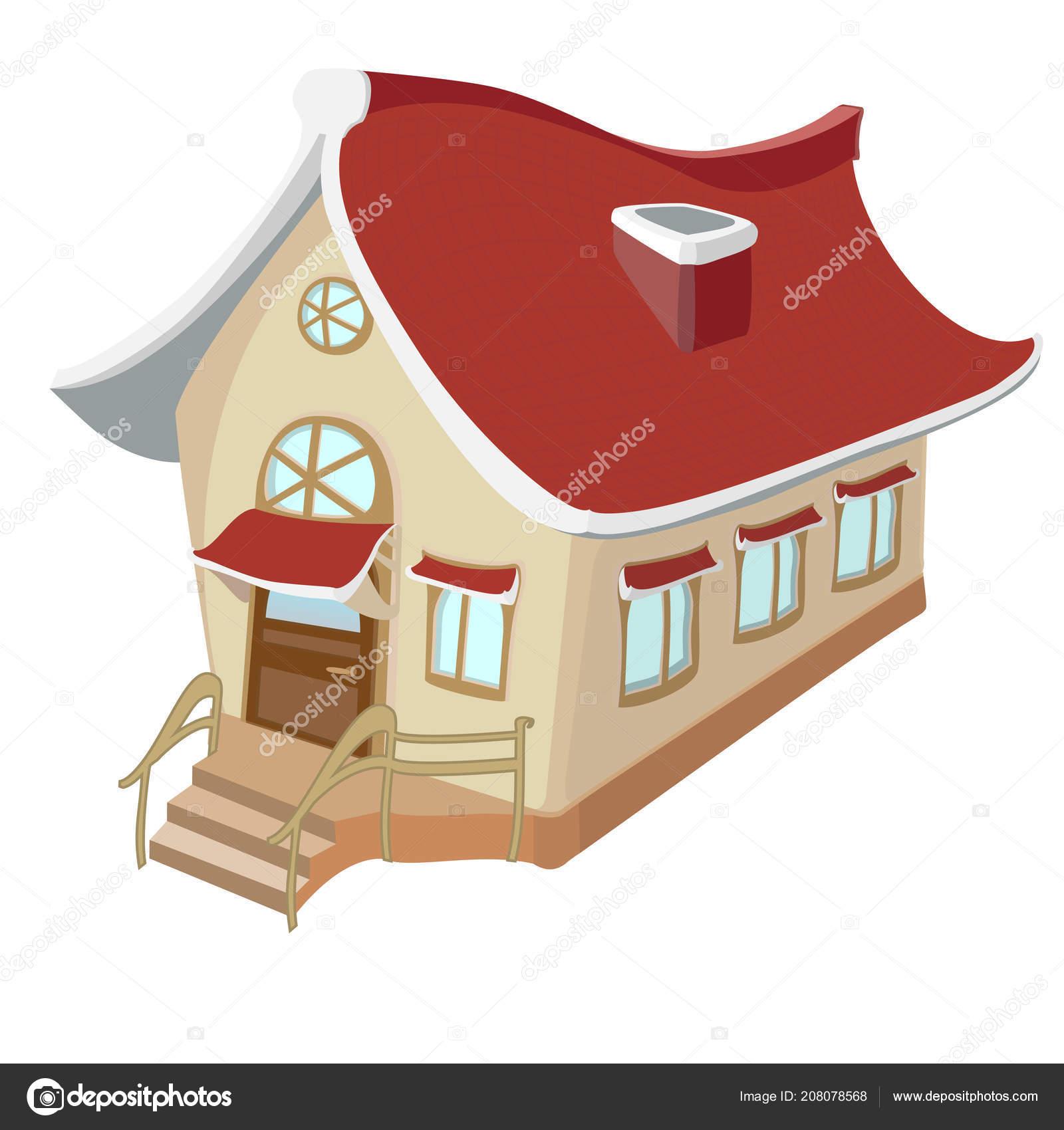 Une belle petite maison dessin dans des tons chauds de jaunes image vectorielle