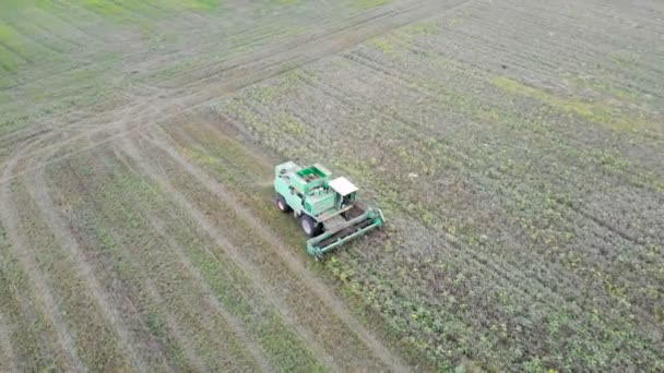 Aerial view kombájn mezőgazdasági gép betakarítás arany érett búzamező.