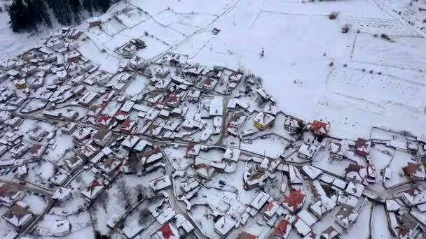 Aerial view of historical town of Koprivshtitsa, Sofia Region, Bulgaria at winter.
