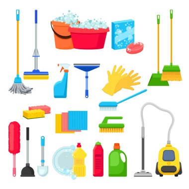 Cleansers and detergent in bottles, house cleaning tools and supplies for housework. Vector isolated objects and design elements. icon