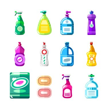 Household chemicals, cleansers and detergent. Vector illustration of multicolor bottles, containers, packaging. House cleaning and housework design elements. icon
