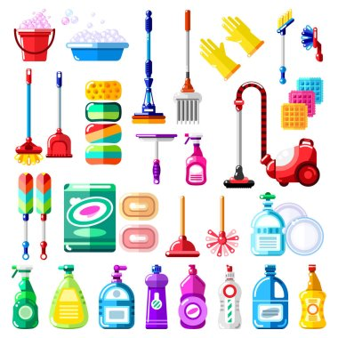 Household cleaning tools, detergent and supplies. Vector illustration of multicolor mop, vacuum cleaner, brush, sponge, broom. House cleaning and housework isolated design elements. icon