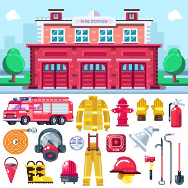 Firefighting equipment vector icons set. City fire station illustration. Fire extinguisher, alarm system, hydrant, firemans uniform and car isolated on white background. icon