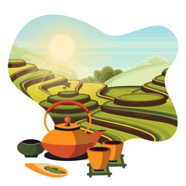 China tea green terrace fields plantation. Japanese tea ceremony, vector cartoon illustration. Teapot and cups with hot herbal tea.