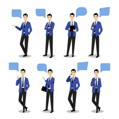 Young businessman set in different poses, on white background. Vector flat illustration. Man cartoon character in blue suit, isolated design elements. icon
