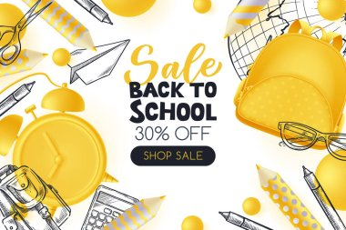 Back to school sale poster, banner design template. Vector 3d illustration of yellow backpack, pencils, alarm clock and sketch school supplies on white background. Creative modern education concept. icon