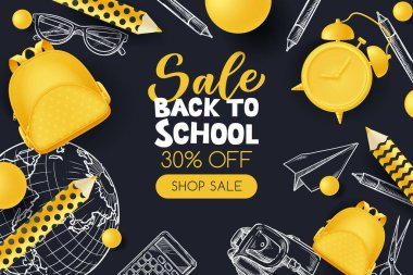 Back to school sale poster, banner design template. Vector 3d illustration of yellow backpack, pencils, alarm clock and sketch school supplies on black background. Creative modern education concept. icon