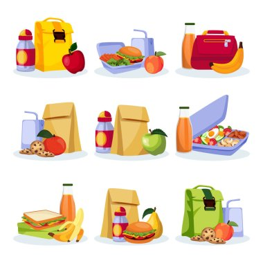 Kids school healthy lunch and snacks. Vector flat cartoon illustration. Lunchboxes with home made meal, apple, banan and drinks. Food icons isolated on white background. icon