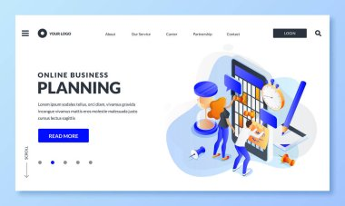 Online calendar app business work planning. Vector 3d isometric illustration. Concept of time management of office teamwork, project development process and deadline. Web landing page, banner design icon