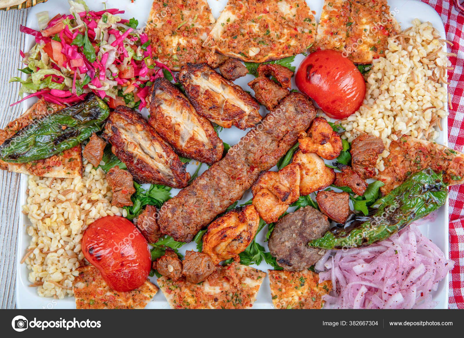 Turkish Arabic Traditional Ramadan Mix Kebab Plate Adana Urfa Chicken Stock Photo Image By C Mc Atolye 382667304
