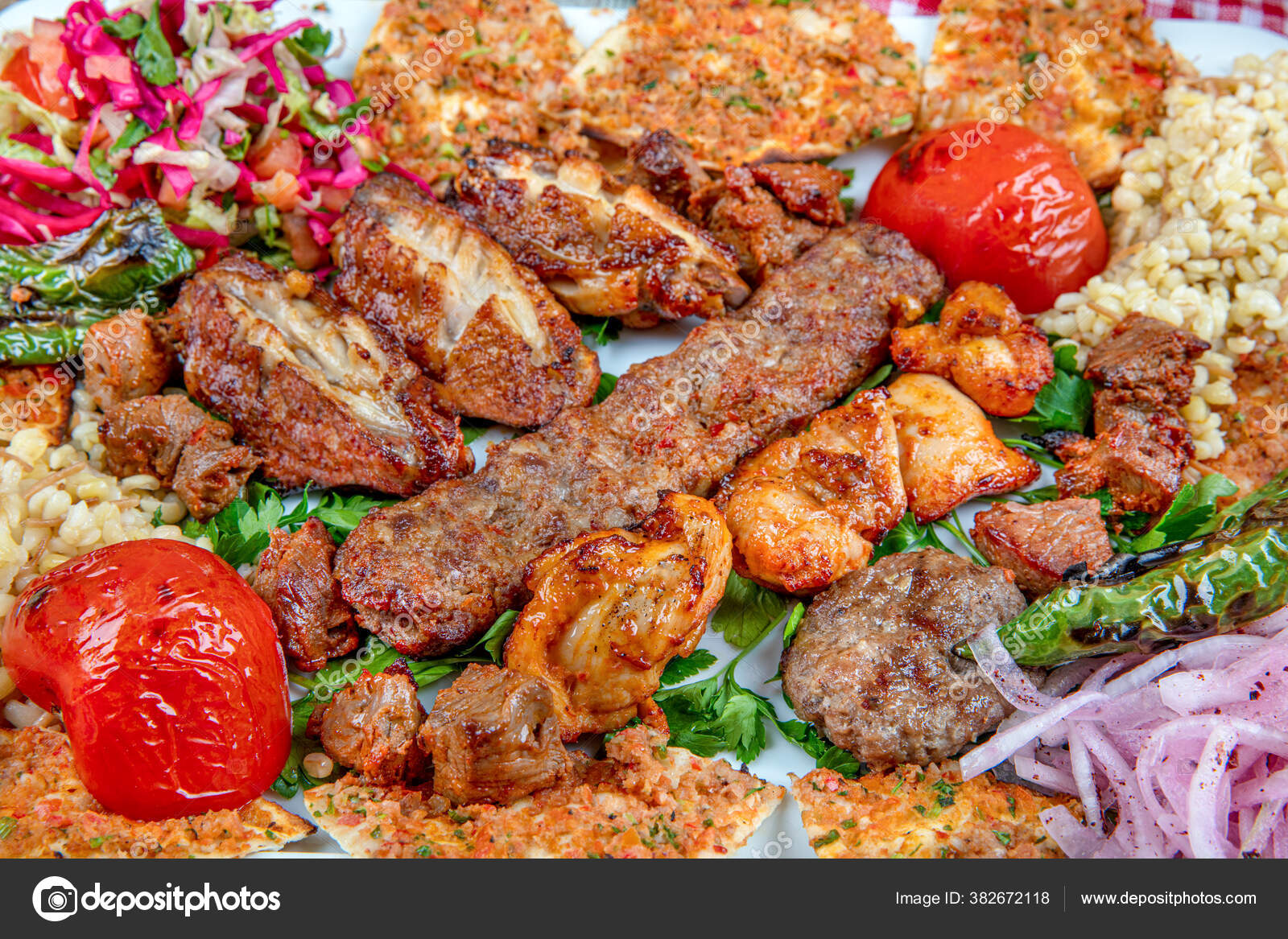 Turkish Arabic Traditional Ramadan Mix Kebab Plate Adana Urfa Chicken Stock Photo Image By C Mc Atolye 382672118