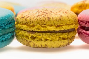 Colorful macaroons. Sweet macarons. Isolated on white background.