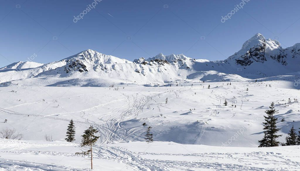 Beautiful winter view of the Polish mountains