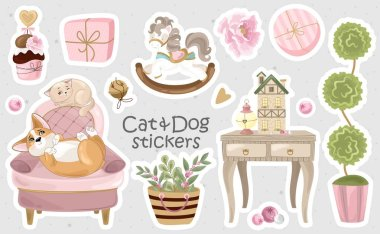 Set of Corgi and Cat stickers and icons. Cute dog with romantic items. Vector illustration. Printing on fabric, paper, postcards, invitations. icon