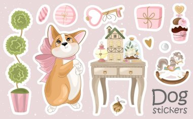 Set of Corgi stickers and icons. Cute dog with romantic items. Vector illustration. Printing on fabric, paper, postcards, invitations. icon
