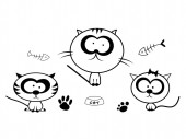 Funny cat doodles set in black on white background