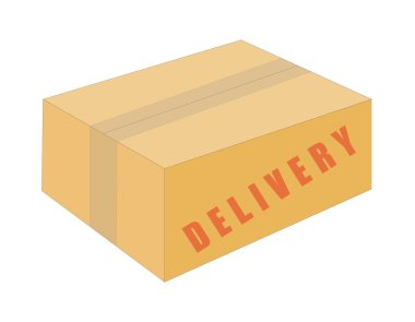 Delivery box isolated vector illustration color on white background icon