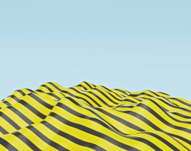 Black and yellow colored abstract wave. modern minimal pattern background. copy space. 3d rendering