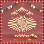 elvont geometrikus alak karnevál design kozmetikai vagy termék kijelző dobogó 3d render.