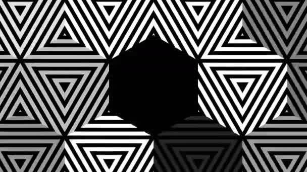 Hipnotikus ritmikus mozgás, geometriai alakzatok, a fekete-fehér