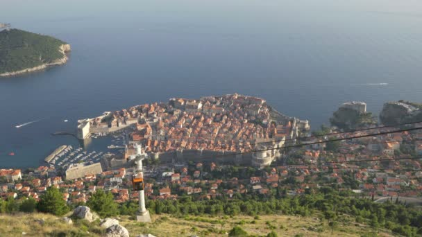 View Of Old City Dubrovnik Cable Car Passing By Sunset