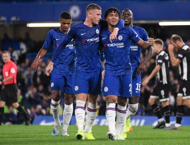 LONDON, ENGLAND - SEPTEMBER 25, 2019: Reece James of Chelsea celebrates with Ross Barkley of Chelsea after he scored a goal during the 2019/20 EFL Cup Round 3 game between Chelsea FC and Grimsby Town FC at Stamford Bridge.