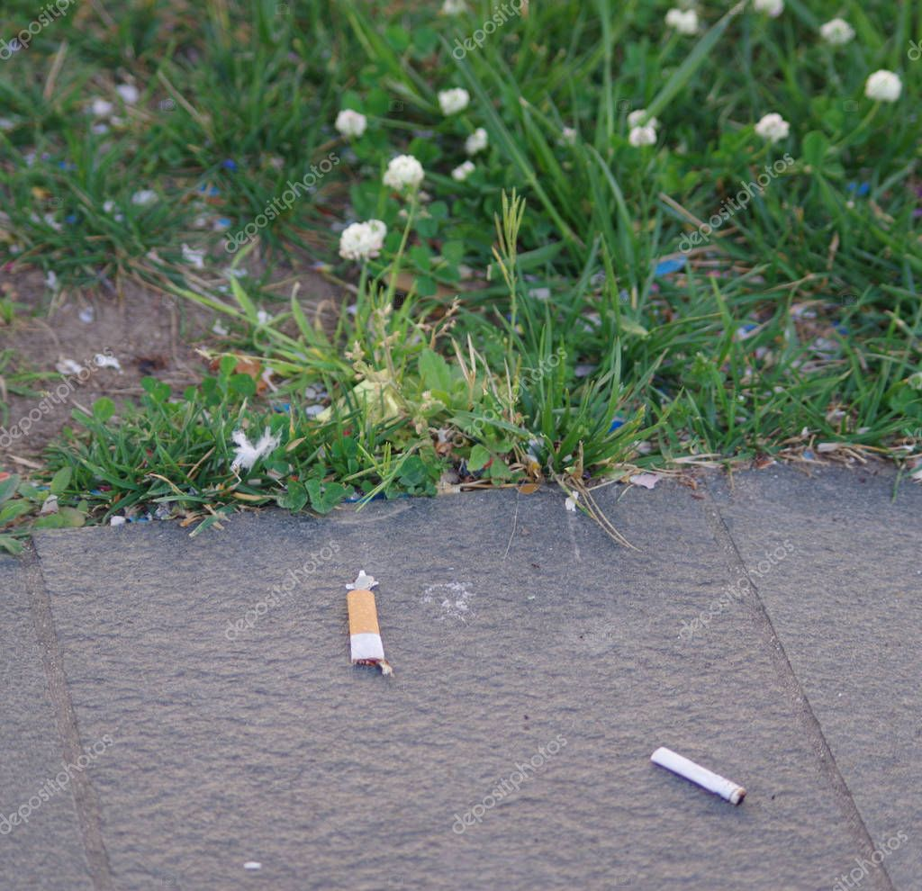 dirt and pollution: cigarette butts thrown into the street