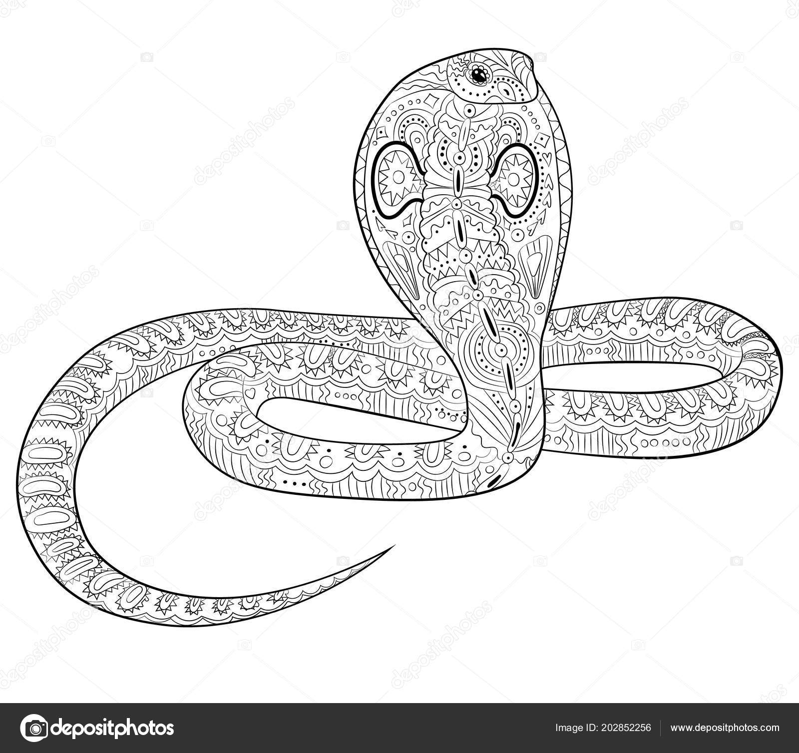 Coloring page with snake in zentangle style. — Stock Vector ...