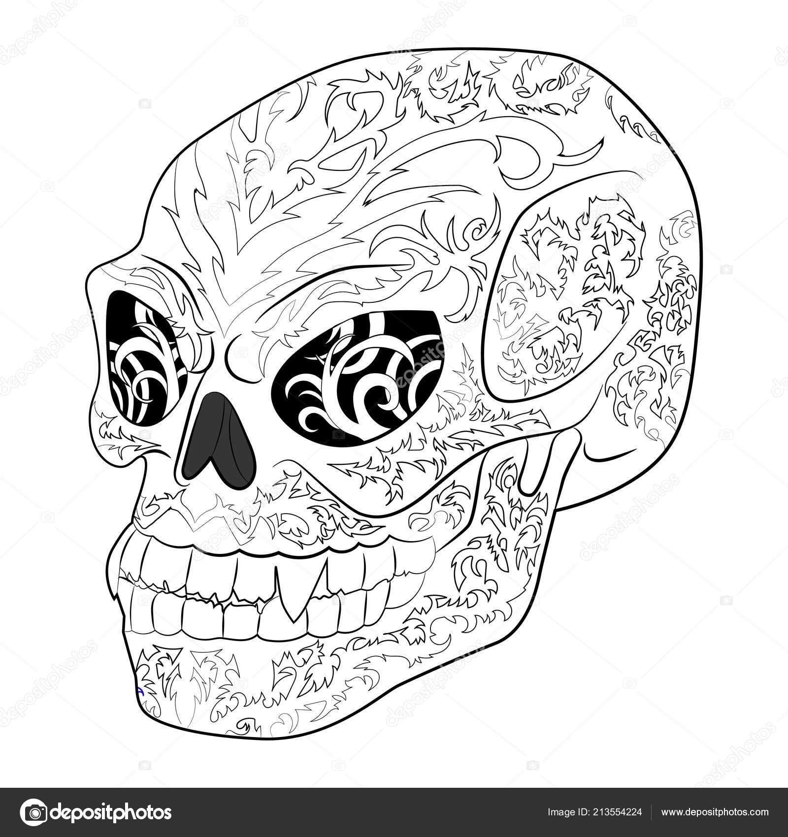 антистресс окраски страницы с зло череп хэллоуин векторное