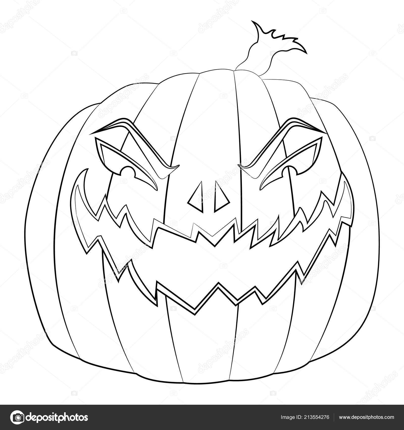 Pagina Da Colorare Per Bambini Con Male Zucca Di Halloween