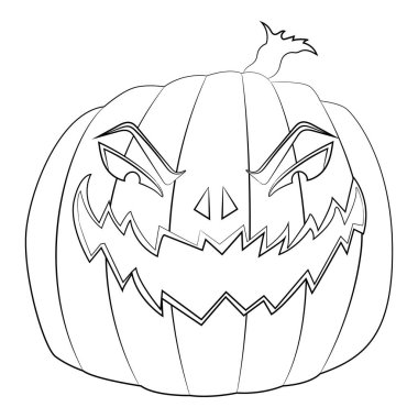 Coloring page for kids with Halloween evil pumpkin