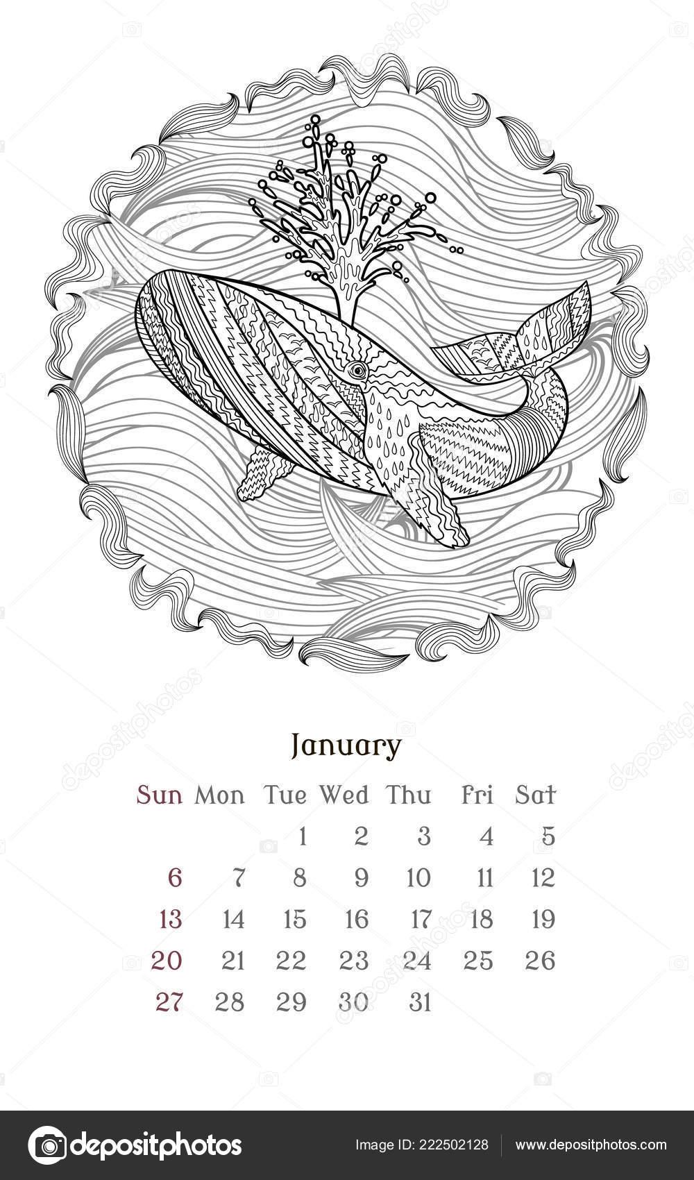 Kleurplaten Dierendag 2019.Zee Anti Stress Kleurplaat Voor Kalender 2019 Stockvector