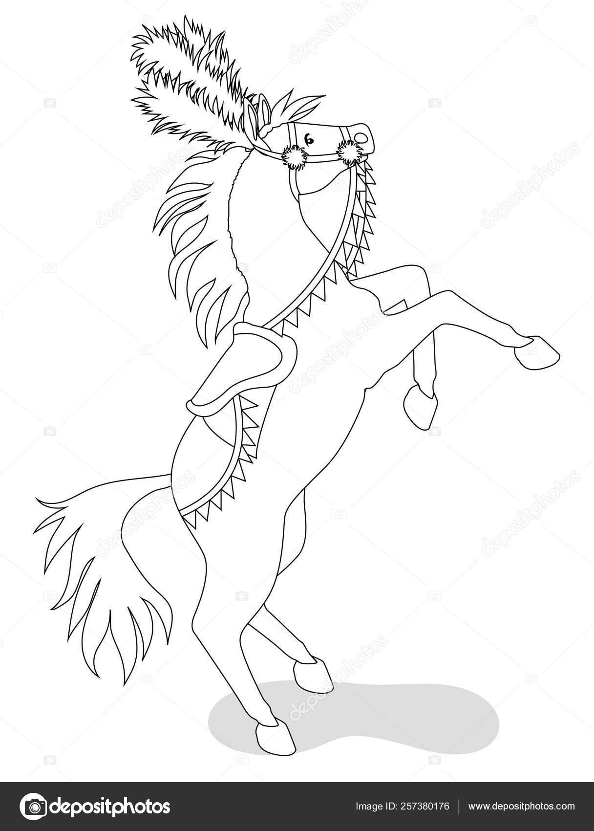 Circus horse for coloring book — Stock Vector © Lezhepyoka ...