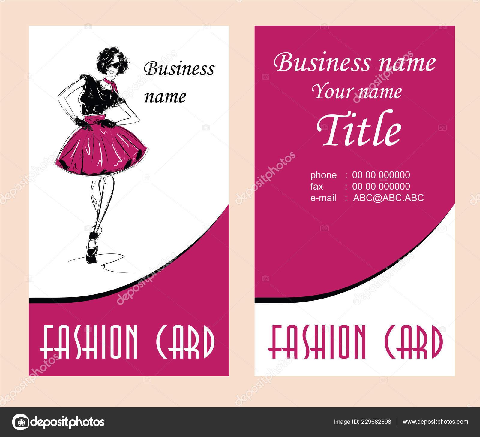 Visitenkarten Mit Mode Frau Vektor Illustration