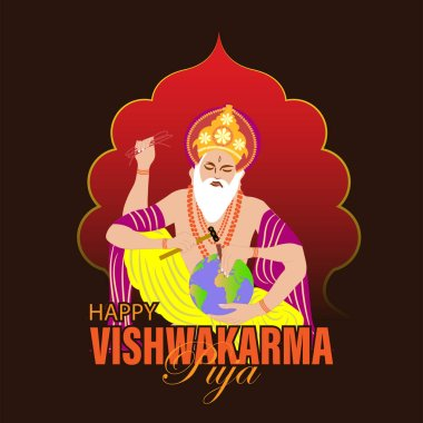 Vishwakarma God of Hindus, who is believed to be the architect of the universe. A banner for Vishwakarma Puja. Vector Illustration. stock vector