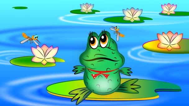 Sommer. Ein kleiner Frosch sitzt auf einer Seerose und frisst Mücken.
