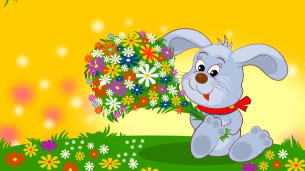 Dali malému králíčkovi kytici květin a on je šťastný..