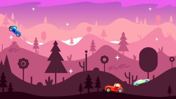 Morgen, Berge, drei Autos fahren auf der Straße und überwinden steile Straßen unter schwierigen Bedingungen