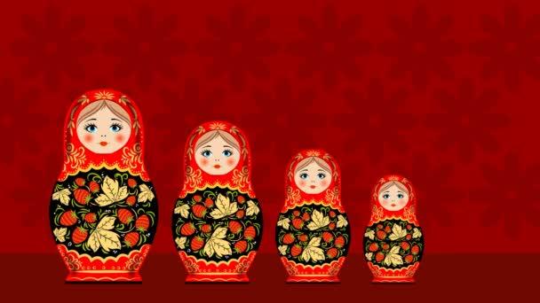 Rossiho národní hračka. Dřevěná hračka. Barevné hnízdící panenky v počtu pěti kusů.