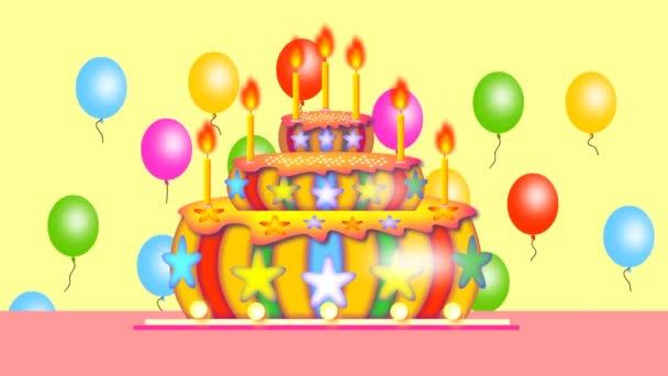 Sedm let, prázdniny, všechno nejlepší. Na stole je dort, svíčky hoří, balónky lítají.