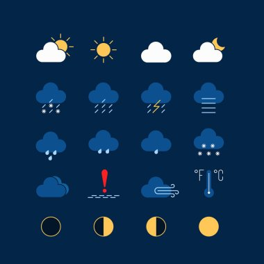 Dark theme set of weather icons. season info hot, sunny, cloudy, rainy or snowy, ice-crusted ground. graphic pack with simple flat elements for interface app mobile, web on dark blue background icon