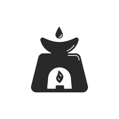 black aromatherapy lamp icon. concept of traditional chinese organic medicine, calm harmony energy, romantic mood. emblem for yoga salon or cosmetology home. simple art sign isolated on white
