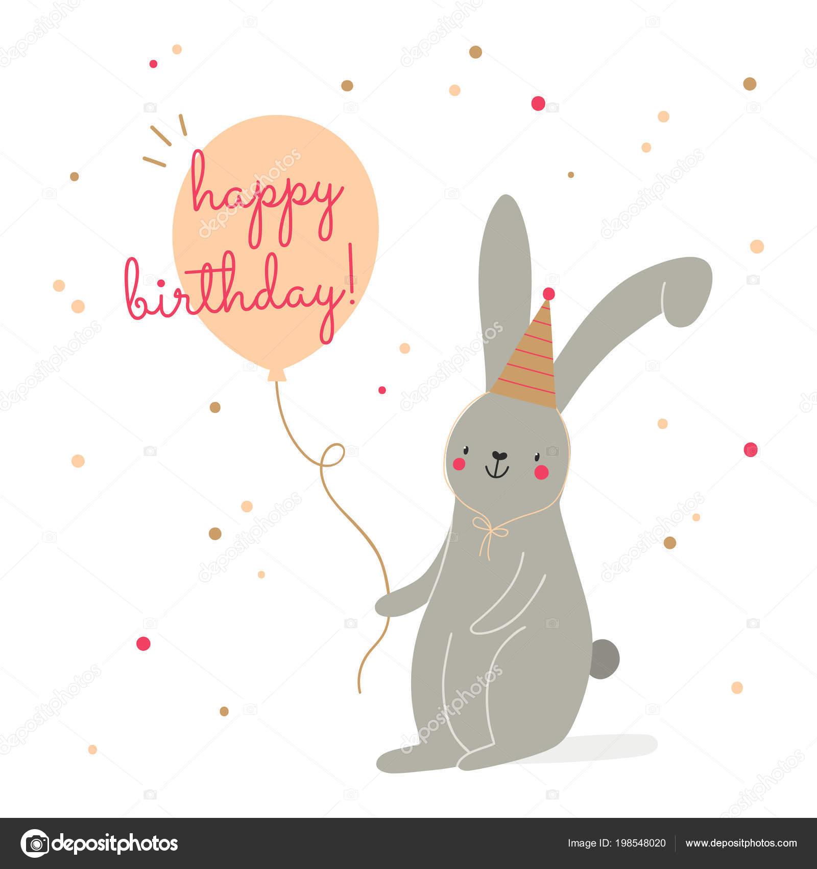 Gelukkig Verjaardagskaart Vector Super Leuke Illustratie Met Bunny