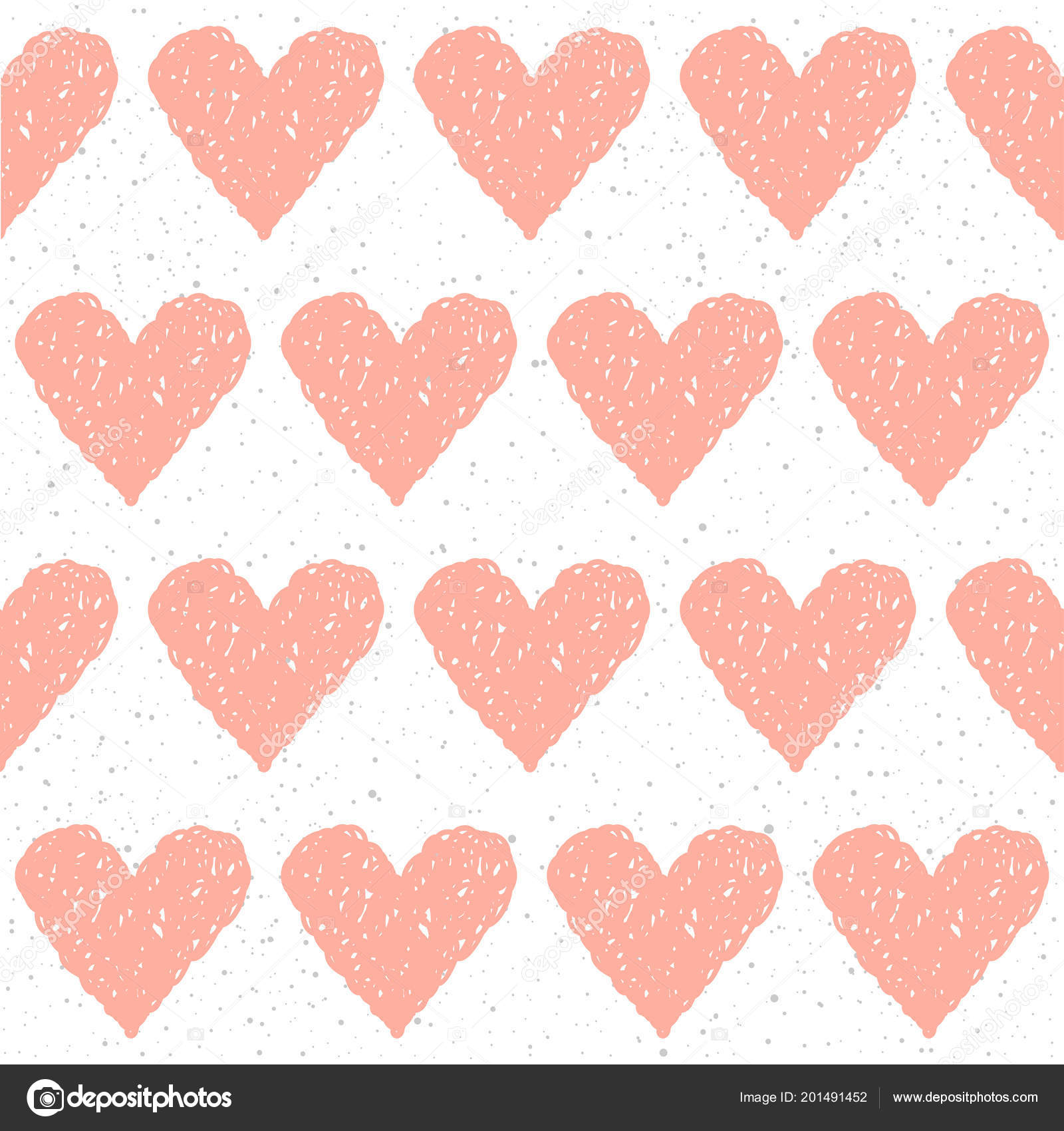 Doodle Heart Seamless Background Abstract Childish Pink Heart