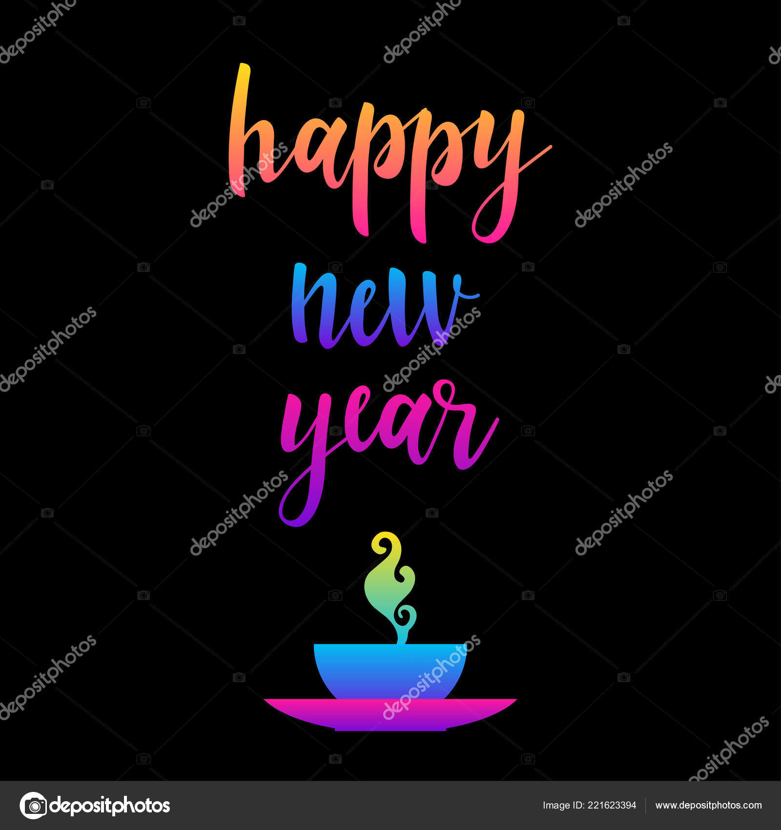 Happy New Year Card Template Abstract Doodle Pattern New